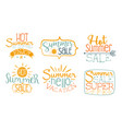 hot summer sale labels set super offer enjoy vector image