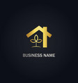 house realty eco leaf gold logo vector image vector image