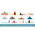 mediterranean europe africa asia cities vector image vector image