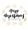 merry chistmas lettering with floral and pine vector image vector image