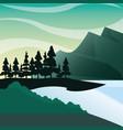 mountains forest pine bush lake natural landscape vector image