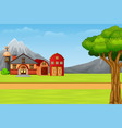 nature landscape with cartoon country house vector image vector image