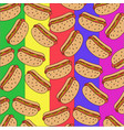 pattern of hot dogs on a colorful background vector image