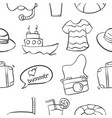 pattern of summer object collection vector image vector image