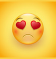 sad gentle face with eyes in the form of hearts vector image