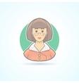 School teacher elegant woman icon