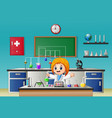 scientist girl in laboratory research with chemica vector image vector image