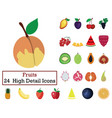 set of 24 fruit icons vector image vector image