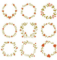 Set of beautiful floral wreaths vector image vector image