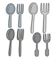 set spoons and forks vector image vector image