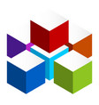stacked 3d cubes colorful icon on white isometric vector image vector image