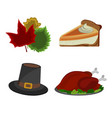 thanksgiving day turkey hat pie leaf vector image