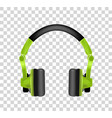 trendy youth wireless green headphones realistic vector image vector image