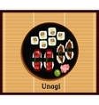 Unagi Sushi Design Flat Food Japanese vector image vector image