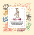 welcome to asia invitation vector image
