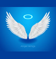 white angel wings and shining nimbus realistic vector image vector image