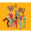Winner young group happy people color vector image vector image