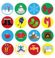 winter flat icons vector image