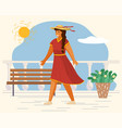 young cheerful woman walking on white seafront vector image