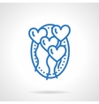 Romantic balloons icon blue line style vector image