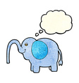 cartoon elephant squirting water with thought vector image