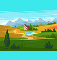 green fields with huge mountains in the distance vector image