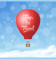 3d realistic red hot air balloon on blue vector image