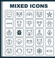 animal icons set collection of moth diver claw vector image vector image