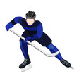 athlete with ice-hockey stick playing hockey vector image vector image
