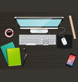 business office and workspace top view background vector image vector image