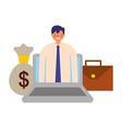 businessman laptop briefcase and money bag vector image