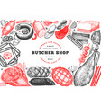 butcher shop hand drawn banner template retro vector image