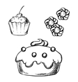 Cake cupcake and cookies sketches vector image vector image