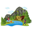camping site with campers and big bear vector image vector image