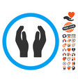 care hands icon with valentine bonus vector image vector image