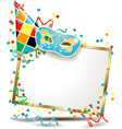 carnival signboard with hat and carnival mask vector image vector image