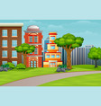 cartoon city houses facades landscape vector image