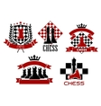 Chess game sporting club emblems design vector image vector image