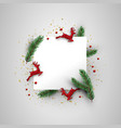 christmas card template of red deer and pine leaf vector image vector image