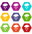 cloud and snowflakes icon set color hexahedron vector image
