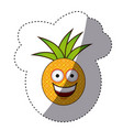colorful kawaii fruit pineapple happy icon vector image