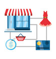 colorful store with colorful elements shopping vector image vector image