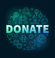 donate round colored in thin vector image vector image