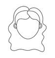 dotted shape woman head with hairstyle design vector image vector image