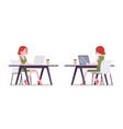 female clerk working with laptop vector image vector image