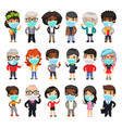 flat cartoon people in protective medical masks vector image