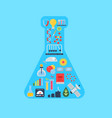 flat style science icons in form vector image vector image
