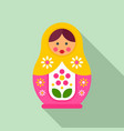 floral nesting doll icon flat style vector image vector image