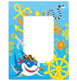 Frame with a pirate shark vector image vector image
