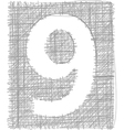 Freehand Typography Number 9 vector image vector image